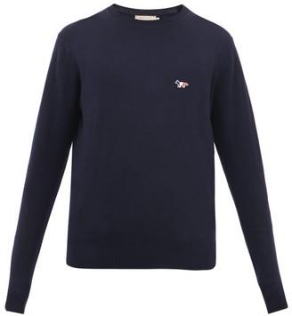 MAISON KITSUNÉ Tricolour Fox-patch Virgin Wool Sweater - Navy