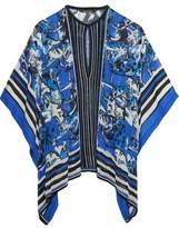 Roberto Cavalli Pointelle-Trimmed Printed Silk-Georgette Top