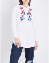 French Connection Rothko floral-embroidered cotton-poplin shirt