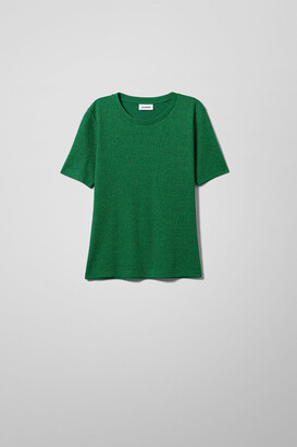 Weekday Ia Lurex T-shirt - Green