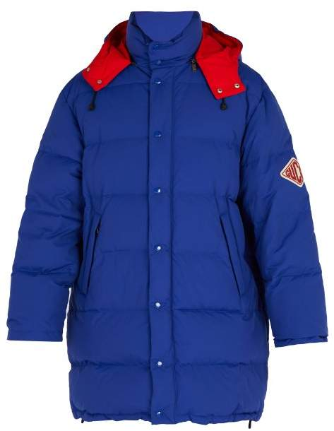 Gucci Game Patch Nylon Hooded Jacket - Mens - Blue