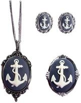 Couture By Lolita Nautical Anchor Cameo Necklace Earrings Bracelet Cuff Set