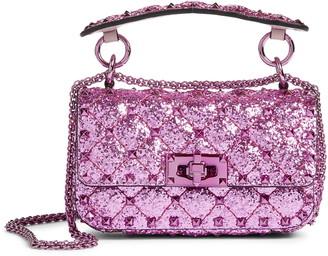 Valentino Mini Spike It Glitter Leather Shoulder Bag