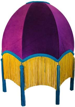 Abigail Hardie Home Purple Velvet Scalloped Dome Shade With Yellow Fringe & Blue Tassels & Braid