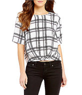 GUESS Alize Plaid Twist Front Short-Sleeve Button Back Top