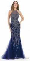 Morrell Maxie Scroll Beaded Low Cut Back Column Evening Dress