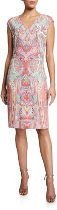 Etro Swirled Paisley Cap-Sleeve Jersey Dress