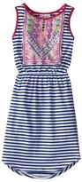 Us Angels Sleeveless Stripe Jersey w/ Embroidered Bodice (Big Kids)