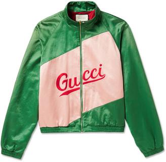 Gucci Logo-Embroidered Panelled Satin Track Jacket - Men - Green