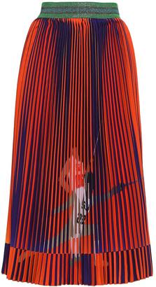 Stella Jean Metallic-trimmed Pleated Printed Crepe Midi Skirt