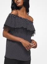 Michael Kors Polka Dot Silk-Georgette Off-The-Shoulder Top