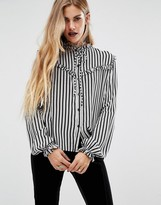 Motel Halloween Prairie Ruffle Shirt In Stripe