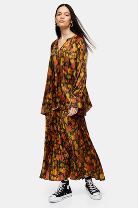 Topshop Womens **Orange Floral Pleated Skirt By Orange