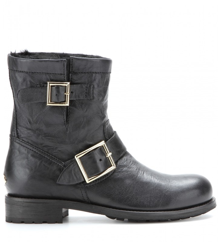 Jimmy Choo Youth fur-lined biker boots