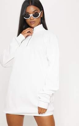 PrettyLittleThing Cream Rib Zip Front Elasticated Hem Jumper Dress