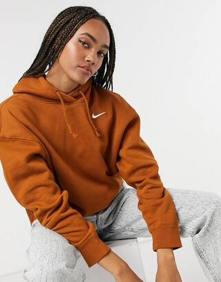 Nike mini swoosh oversized hoodie in tawny brown