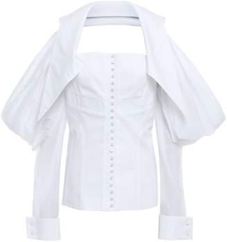 Antonio Berardi Cold-shoulder Mousseline-paneled Pleated Cotton-poplin Top