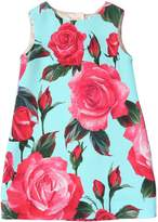 Dolce & Gabbana Roses Printed Crepe A-Line Dress