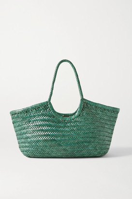DRAGON DIFFUSION Nantucket Large Woven Leather Tote - Emerald