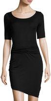 Three Dots Christina Asymmetric Ruched Sheath Dress, Black
