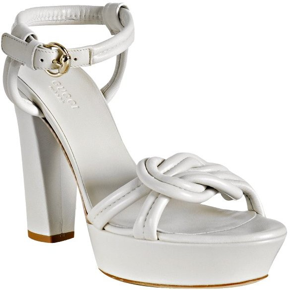 Gucci white knotted leather 'Orchid' platform sandals