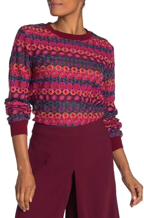 Trina Turk Marita Embroidered Mesh Pullover