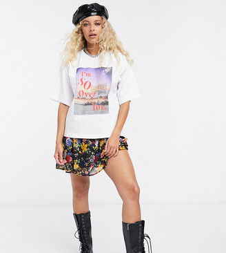Reclaimed Vintage inspired boxy t-shirt with I'm so over you print in white