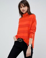Asos Design Sweater with High Neck and Stripe Ripple Stitch