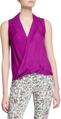 L'Agence Freja Wrap-Front Sleeveless Silk Blouse