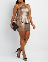 Charlotte Russe Plus Size Shimmer Caged Peplum Dress