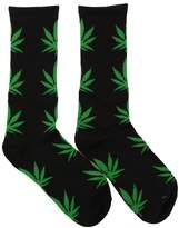 Spring Fever Unisex Marijuana Weed Leaf Printed Crew Socks(Pink/White)