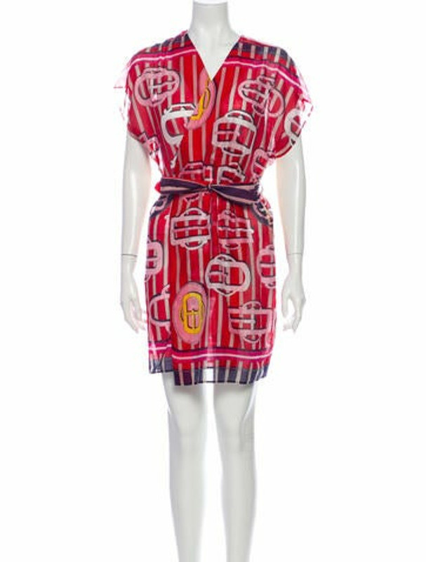 Hermes Printed Mini Dress Red