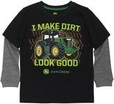 "John Deere Boys 4-7x I Make Dirt Look Good"" Tractor Mock-Layer Tee"
