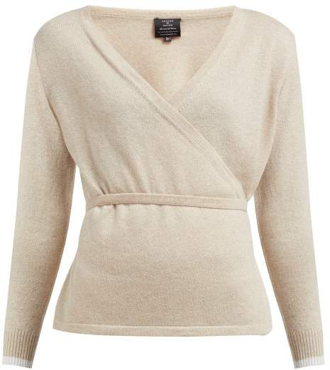 Pepper & Mayne Cashmere And Wool-blend Wrap Cardigan - Womens - Beige