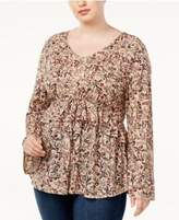 Style&Co. Style & Co Plus Size Printed Empire-Waist Bell-Sleeve Top, Created for Macy's