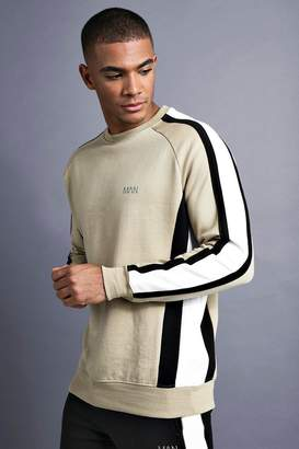 boohoo MAN Raglan Sweater With Panelling