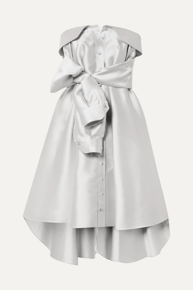 Alexis Mabille Bow-detailed Satin-twill Mini Dress - Platinum