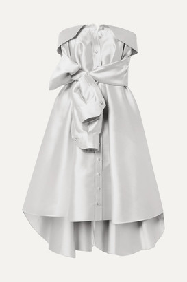 Alexis Mabille Bow-detailed Satin-twill Mini Dress - Platinum