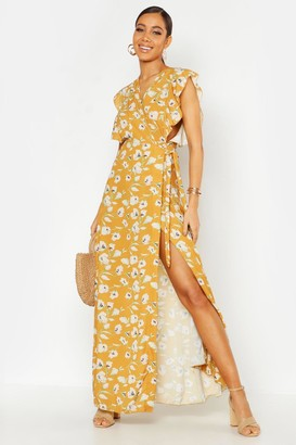 boohoo Floral Woven Ruffle Sleeve Wrap Maxi Dress