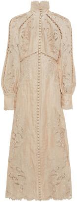 Zimmermann Super Eight Embroidered Linen And Silk-blend Gauze Midi Dress