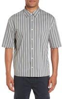 Vince Men's Regular Fit Stripe Short Sleeve Sport Shirt