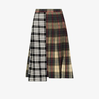 Rentrayage Contrast Tartan Pleated Skirt