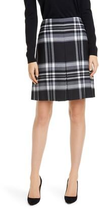 BOSS Vasanda Glen Plaid Stretch Wool Skirt