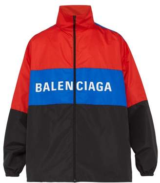 Balenciaga Contrast Panel Logo Print Jacket - Mens - Ruby