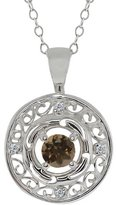 Gem Stone King 0.51 Ct Round Brown Smoky Quartz and White Diamond 18k White Gold Pendant