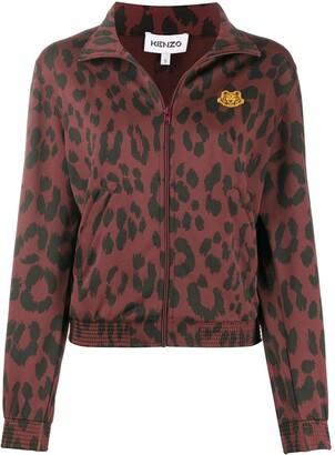Kenzo Leopard Print Zipped Jacket