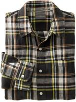 L.L. Bean L.L.Bean Men's Signature Linen Shirt, Long-Sleeve, Plaid