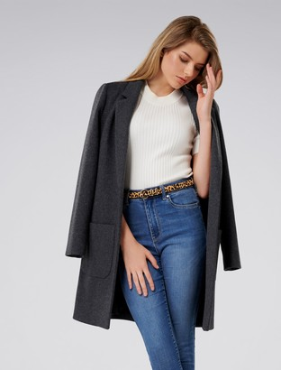 Forever New Jade Petite Coat - Mid Charcoal - 6