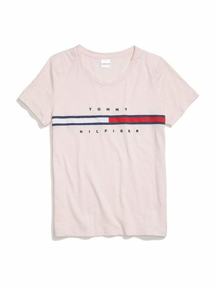 Tommy Hilfiger Women's T Shirt with Magnetic Closure Signature Stripe Tee
