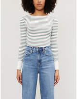 Frame Striped stretch-knit jumper
